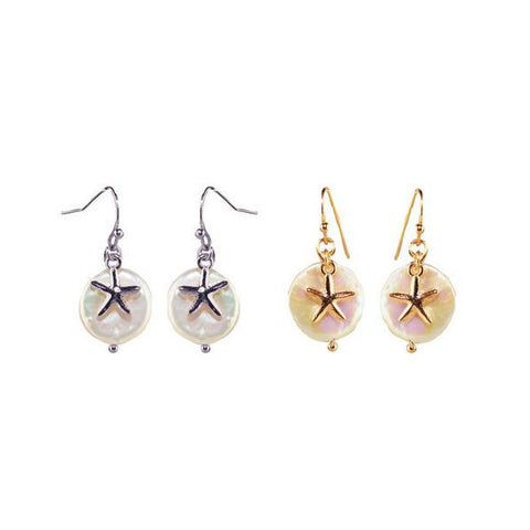 Starfish and Pearl Earrings - Free As A Bird Jewelry