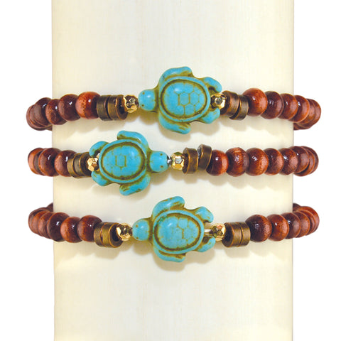Wood Sea Turtle Bracelet