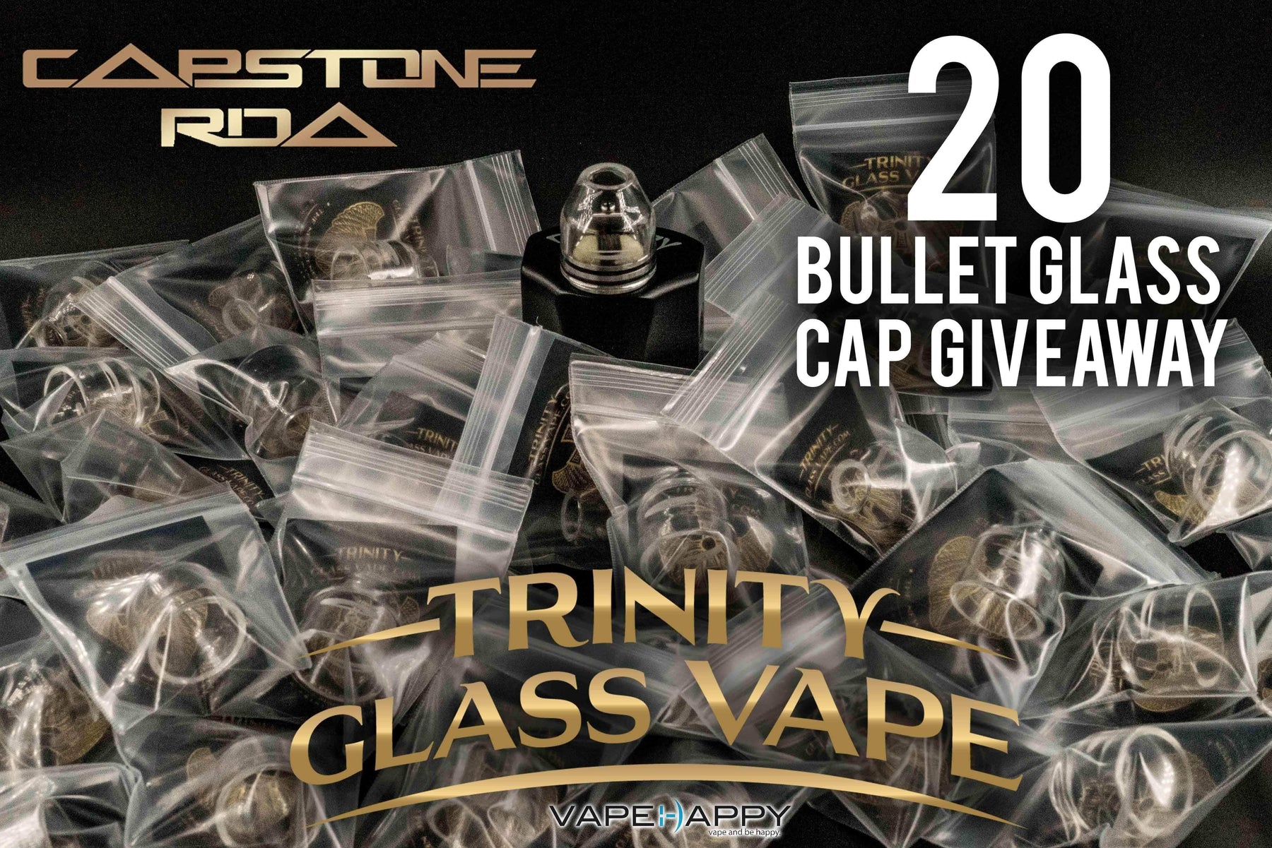 We're Giving Away 20 Capstone RDA Bullet Glass Caps By Trinity Glass Vape! CLOSED