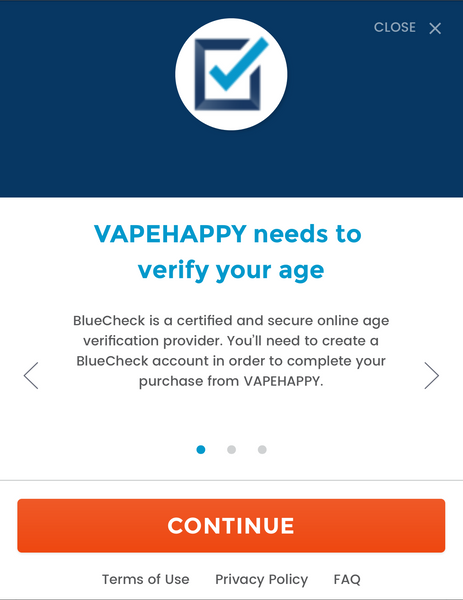 BlueCheck Age Verification First Window