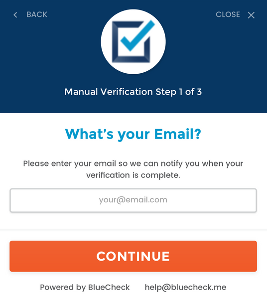 BlueCheck email verification