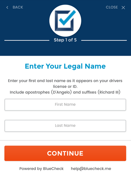 BlueCheck Age Verification Step One Legal Name