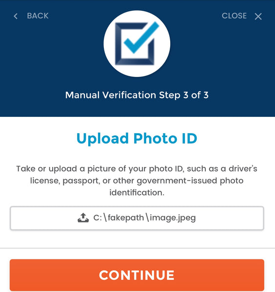 BlueCheck Age Verification upload photo ID