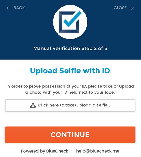 BlueCheck Age Verification Selfie upload