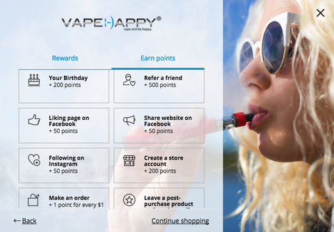 VAPEHAPPY Rewards Program Earn More points