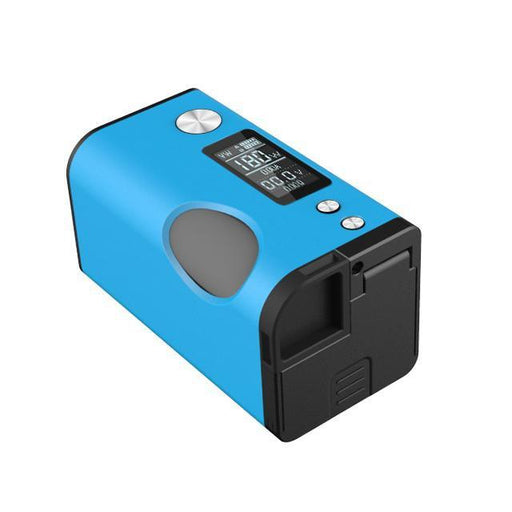 Basium 180W Squonk Mod by Vaping Biker & Dovpo Blue Bottom battery Trap Door and Squonk Bottle Carrier Removal View