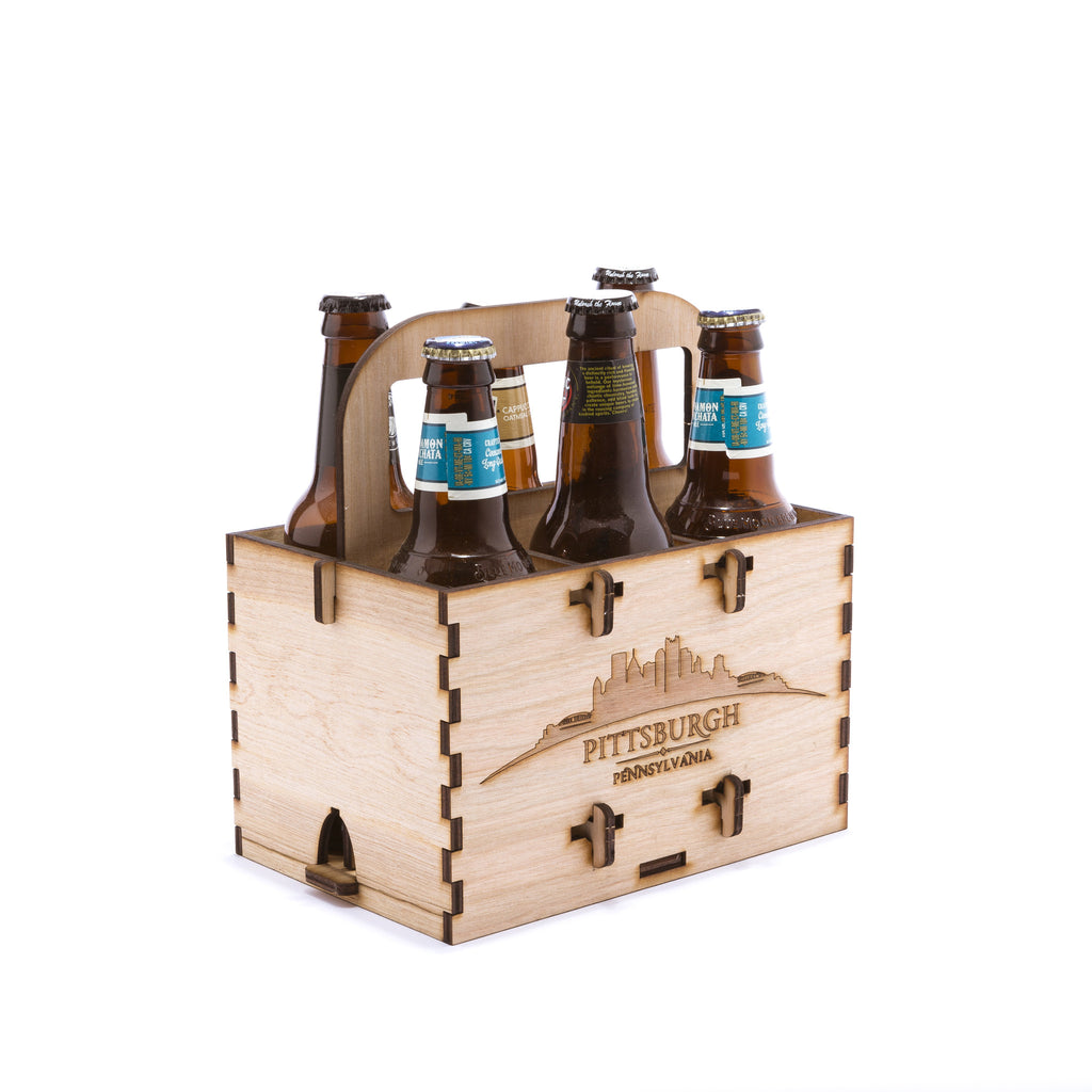 Wooden six pack carrier with Pittsburg skyline, assembled