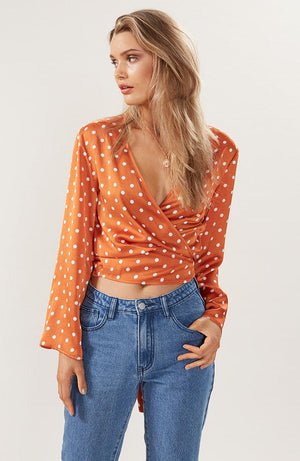 Mia Dot Wrap Top