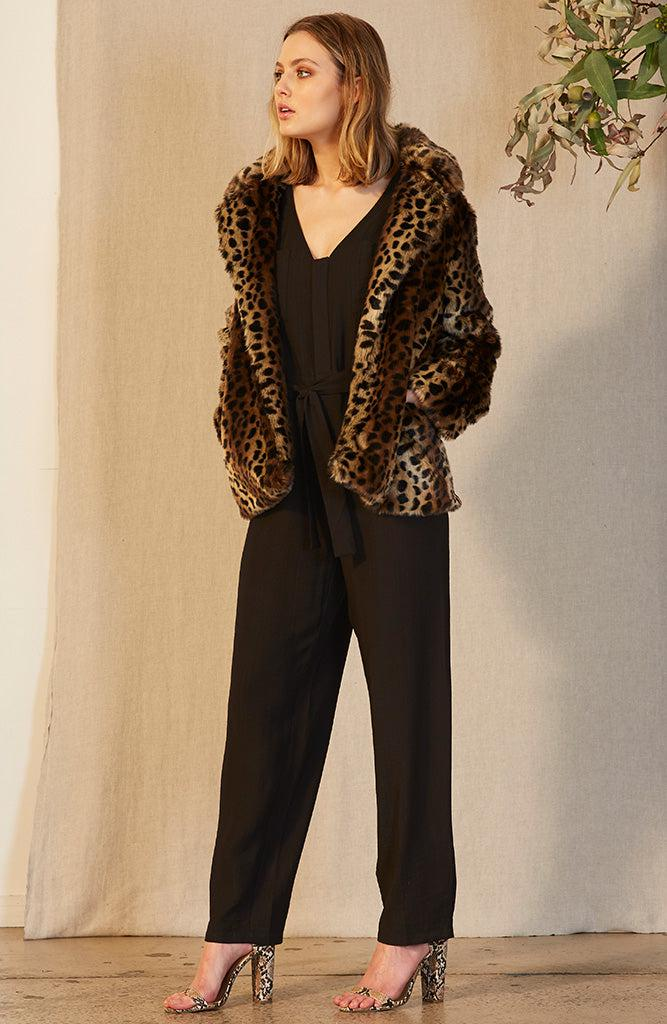 Animalier Faux Fur Jacket
