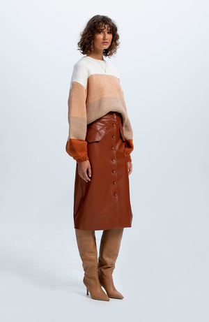 Archer Pu Midi Skirt