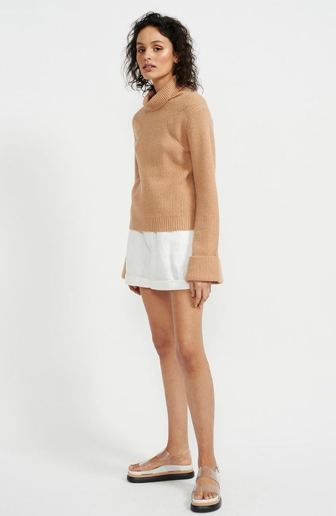 Luxe Fawn Ribbed Roll Neck Knit Jumper