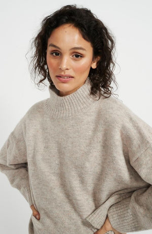 Natural Turtleneck Knit Jumper
