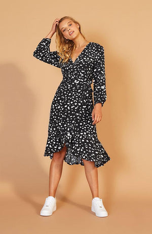 Shadow Wrap Midi Dress