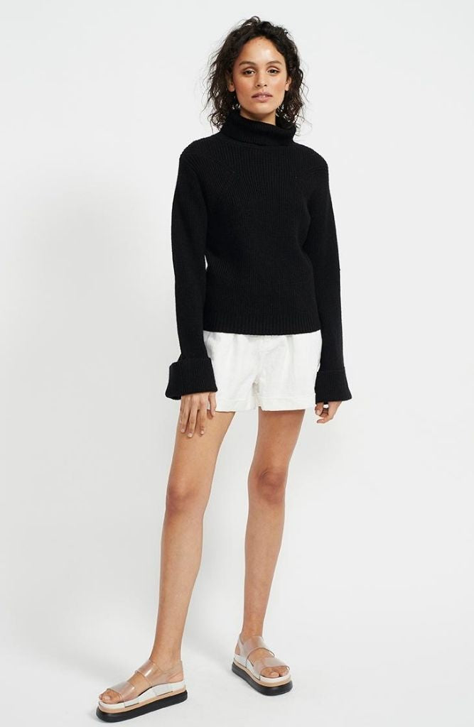 Luxe Black Ribbed Roll Neck Knit Jumper