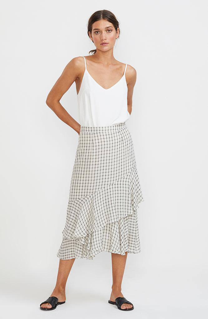Checkmate Ruffled Skirt
