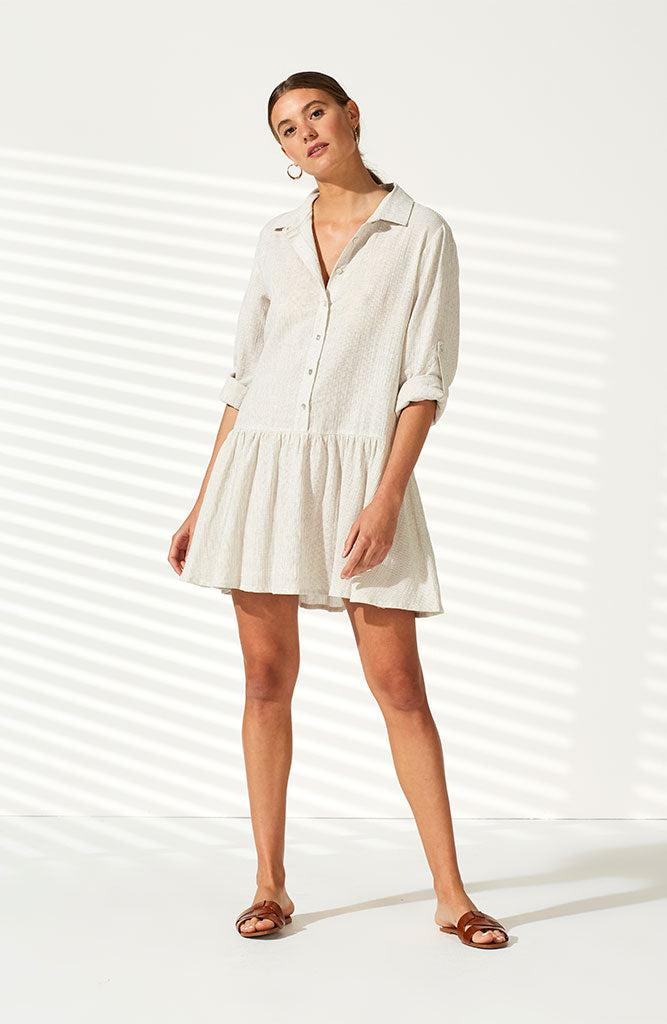 Drifting Pinstripe Shirt Dress