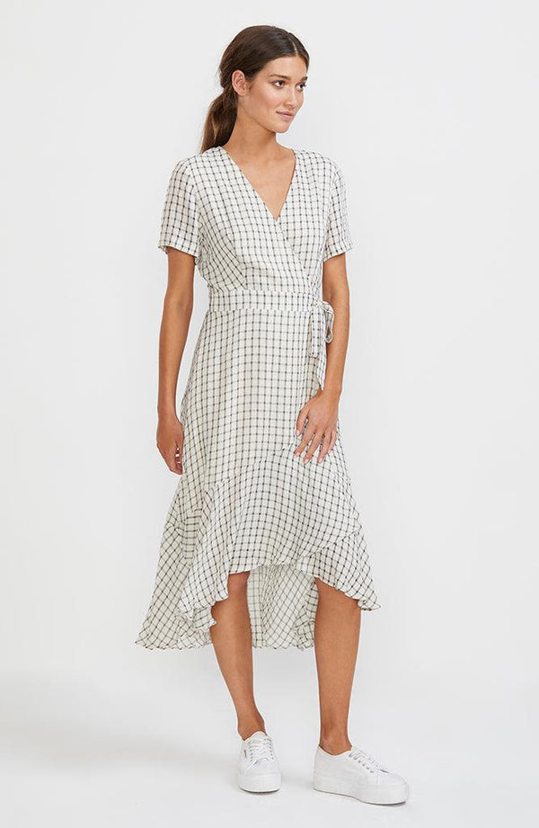 Checkmate Wrap Midi Dress