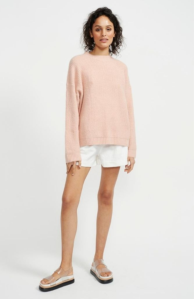 Oversized Blush Crew Neck Knit Jumper