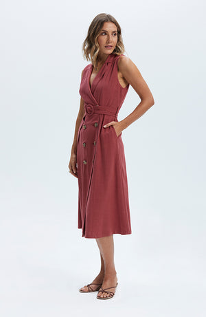Amara Belted Midi Dress