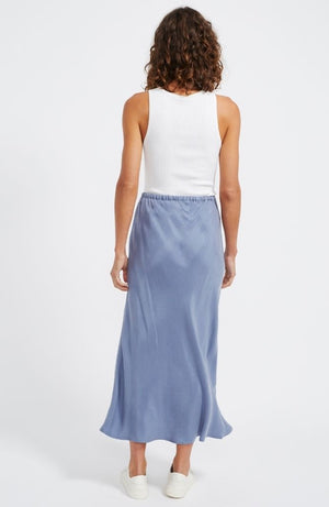 Verona Bias Midi Skirt in Blue