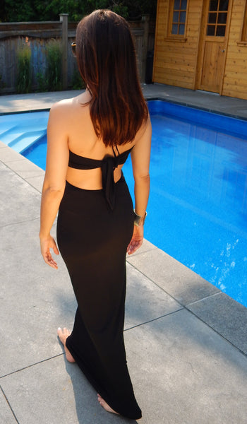 Just Two Girls...Halter Tie Cutout Maxi