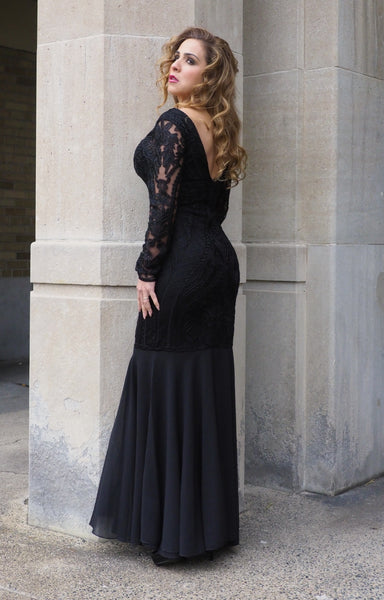 Just Two Girls... STAGE Black Lace Beaded Dress Back
