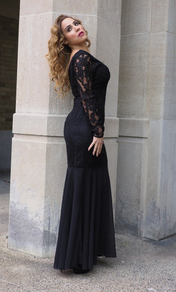 Just Two Girls... STAGE Black Lace Beaded Dress Side