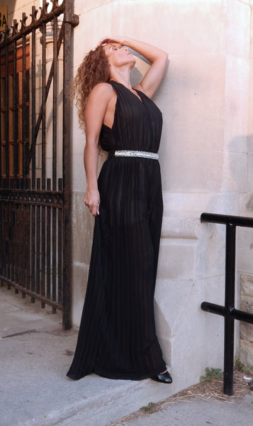 VOGUE Black Pleated Jumpsuit