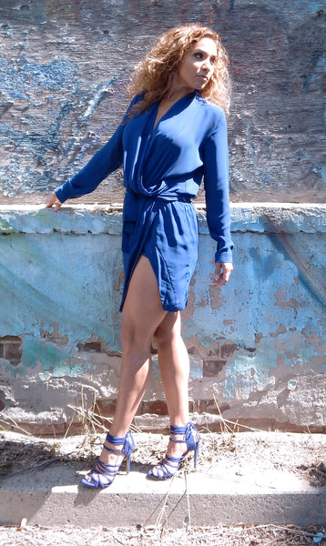 Just Two Girls...OLIVIA Indigo Wrap Dress