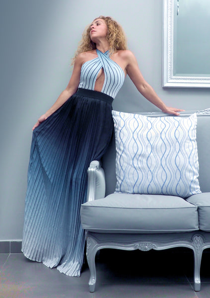 SKY Blue Pleated Dress