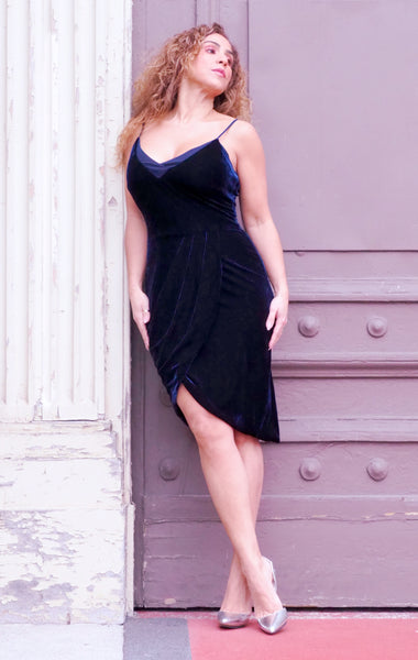 TANZANITE Blue Velvet Dress
