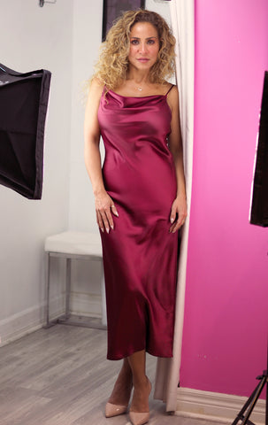 COCKTAILS Burgandy Satin Dress