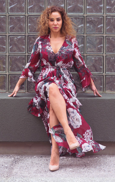 Just Two Girls... MICHELLE Burgundy Floral Dress Alt