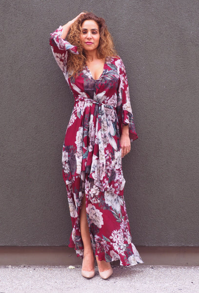 Just Two Girls... MICHELLE Burgundy Floral Dress Front