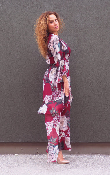 Just Two Girls... MICHELLE Burgundy Floral Dress Side