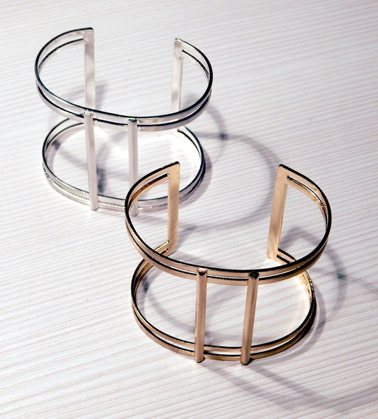 Just Two Girls...Silver or Gold T-Cuff Bracelet