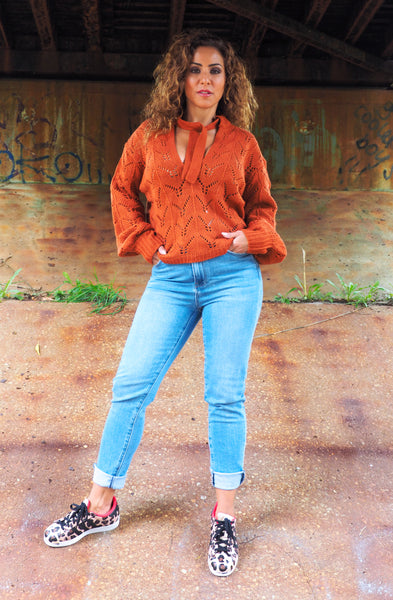 Just Two Girls... COGNAC Knit Sweater Front