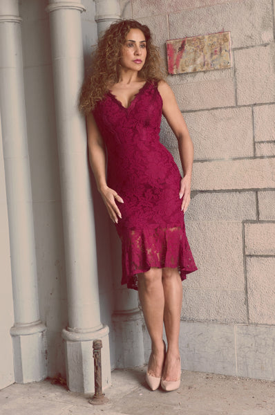 Just Two Girls... ELYSIA Burgandy Lace Dress Front