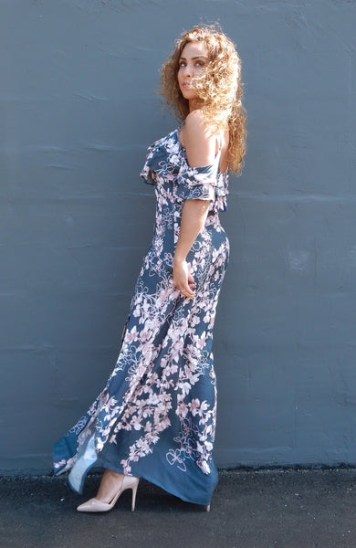 Just Two Girls... GREY ROSE Print Dress Side Alt