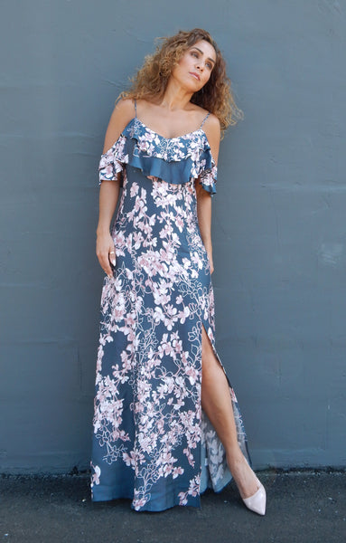 Just Two Girls... GREY ROSE Print Dress