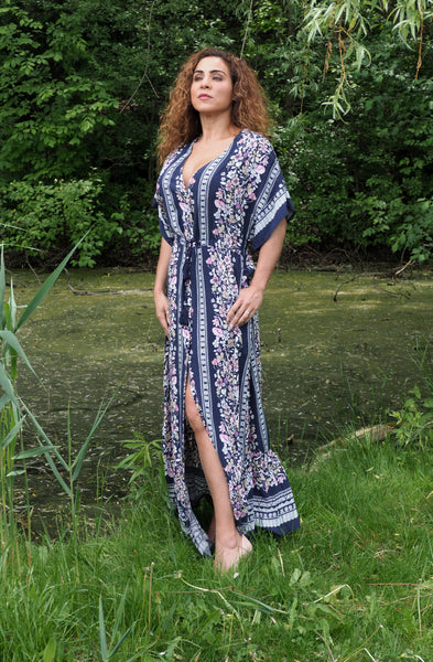 IN BLOOM Navy Maxi Dress Front