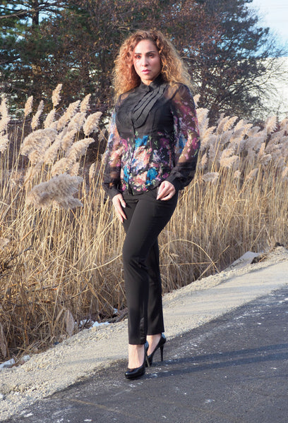 FLORAL Black Blouse