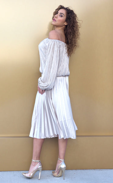 Just Two Girls... ANGIE Off-the-shoulder Silvery Top Back
