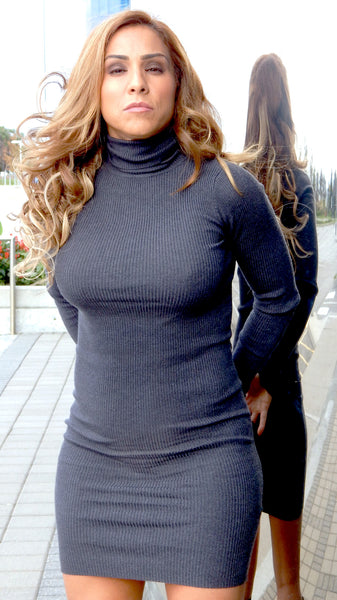 Just Two Girls...Grey Cable-knit Sweater Dress