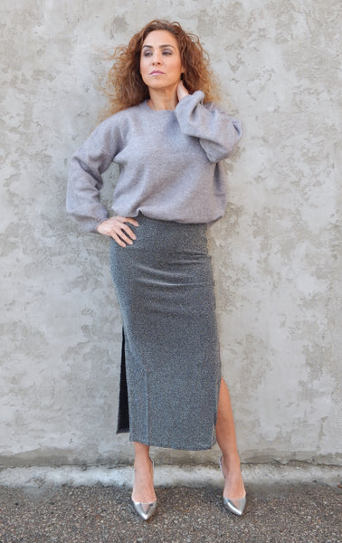 Just Two Girls... METALLIC Midi Skirt Front
