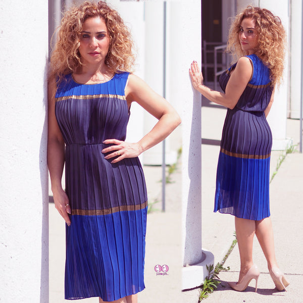 MARA Blue Pleated Dress