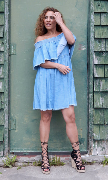 Just Two Girls... SERENE Denim Dress Front