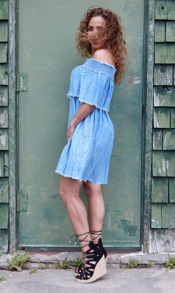 Just Two Girls... SERENE Denim Dress Side