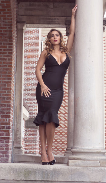 Just Two Girls... BRANDI Black Bandage Dress Alt