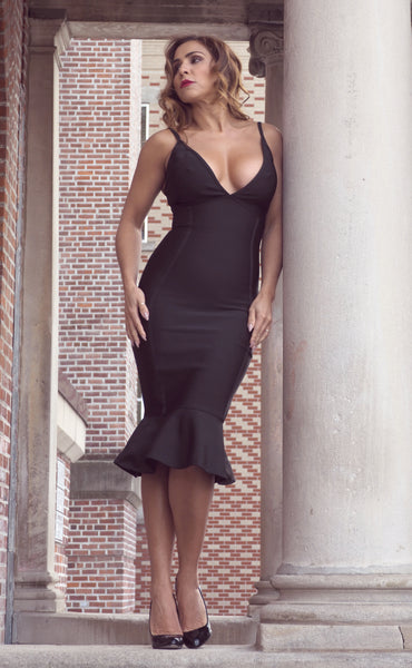 Just Two Girls... BRANDI Black Bandage Dress Front